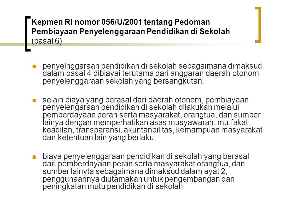 Kepmen RI nomor 056/U/2001 tentang Pedoman Pembiayaan Penyelenggaraan Pendidikan di Sekolah (pasal 6)