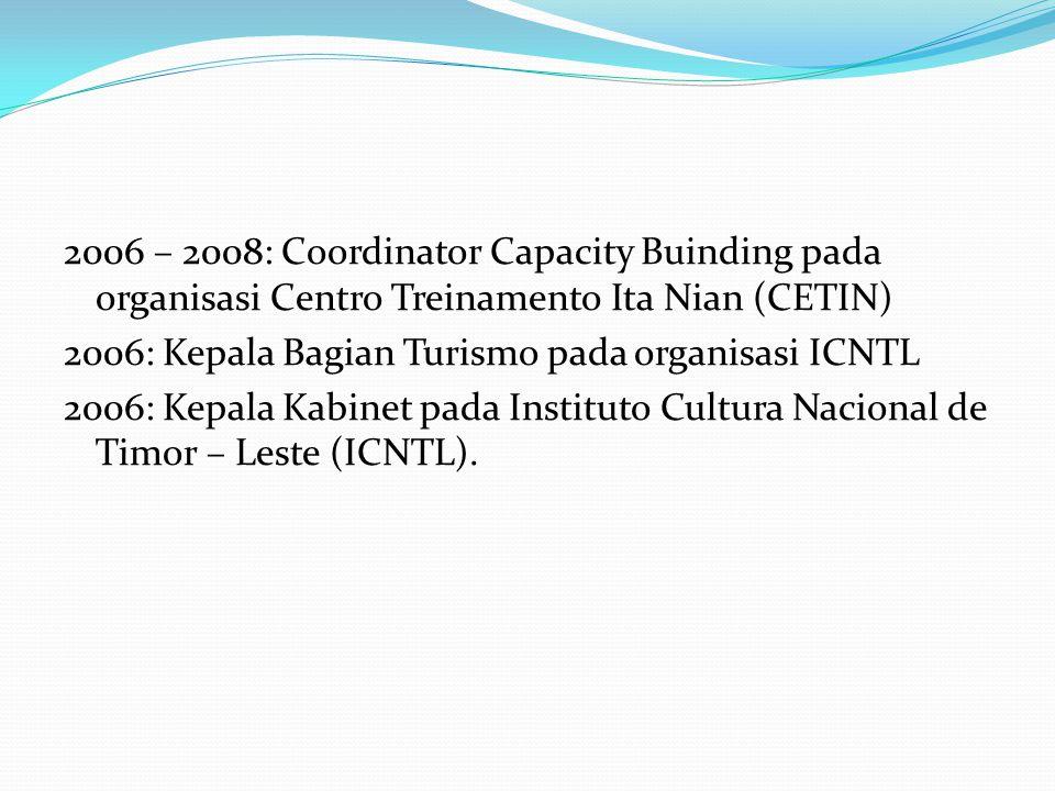2006 – 2008: Coordinator Capacity Buinding pada organisasi Centro Treinamento Ita Nian (CETIN) 2006: Kepala Bagian Turismo pada organisasi ICNTL 2006: Kepala Kabinet pada Instituto Cultura Nacional de Timor – Leste (ICNTL).
