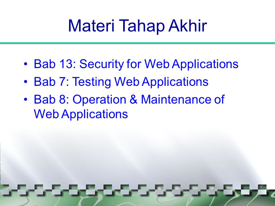 Materi Tahap Akhir Bab 13: Security for Web Applications