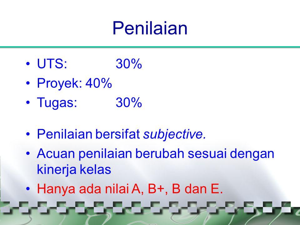 Penilaian UTS: 30% Proyek: 40% Tugas: 30%