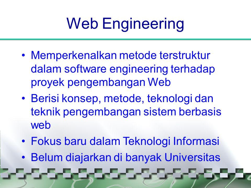Web Engineering Memperkenalkan metode terstruktur dalam software engineering terhadap proyek pengembangan Web.