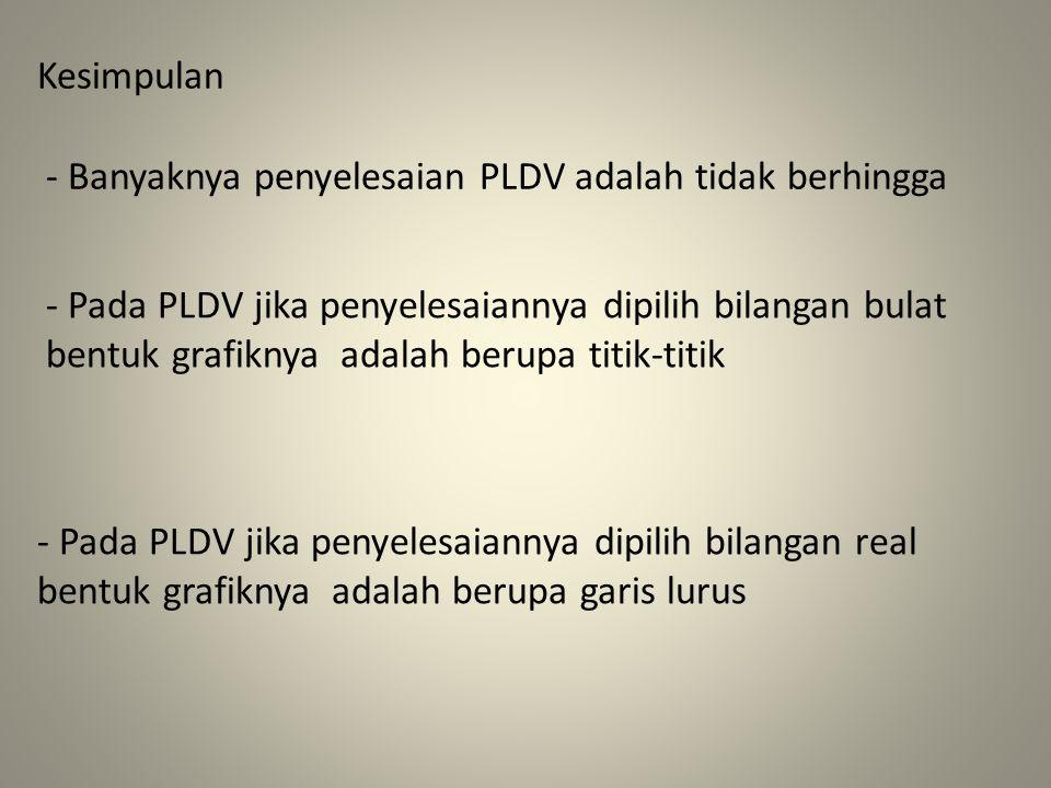 Kesimpulan - Banyaknya penyelesaian PLDV adalah tidak berhingga.