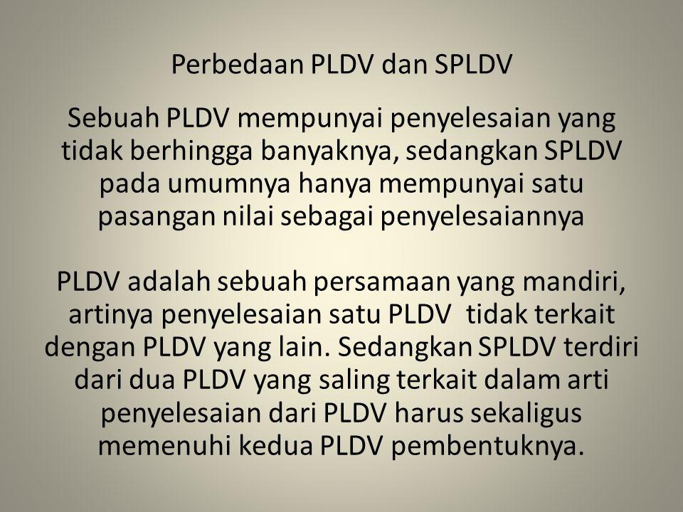 Perbedaan PLDV dan SPLDV