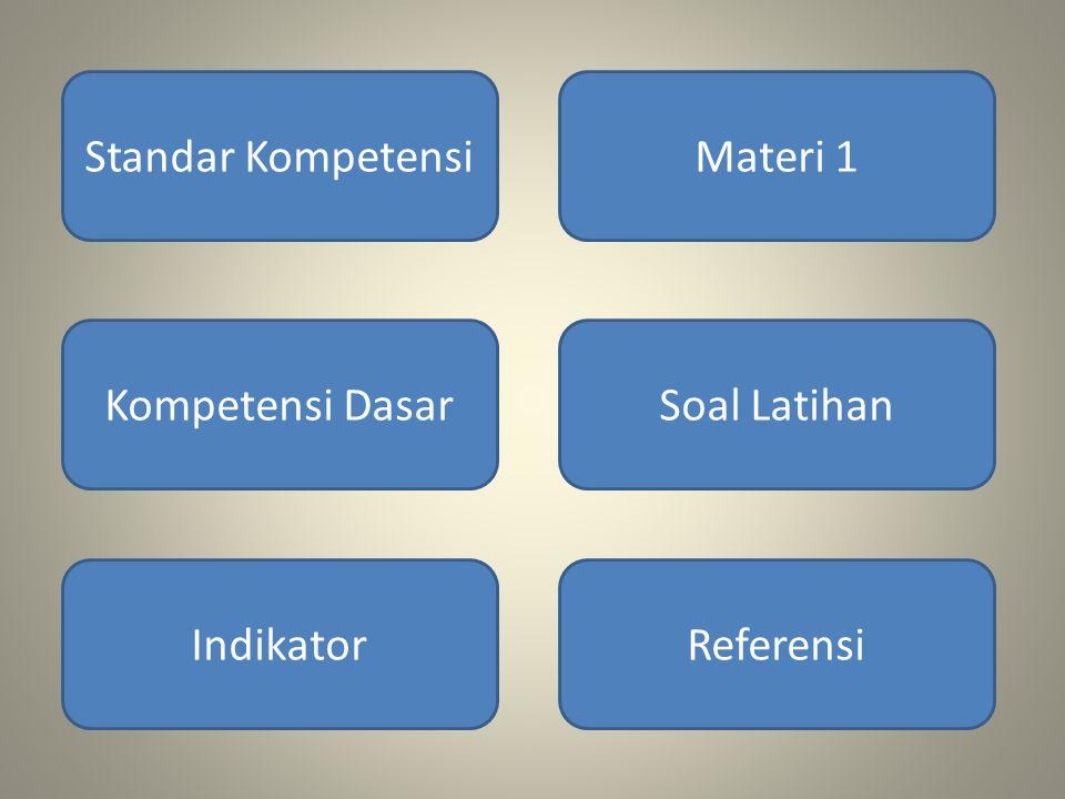 Standar Kompetensi Materi 1 Kompetensi Dasar Soal Latihan Indikator Referensi