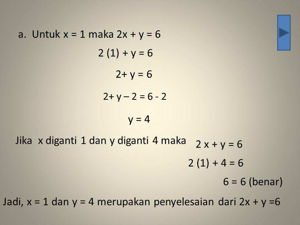 Jika x diganti 1 dan y diganti 4 maka 2 x + y = 6