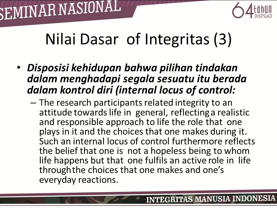 Nilai Dasar of Integritas (3)