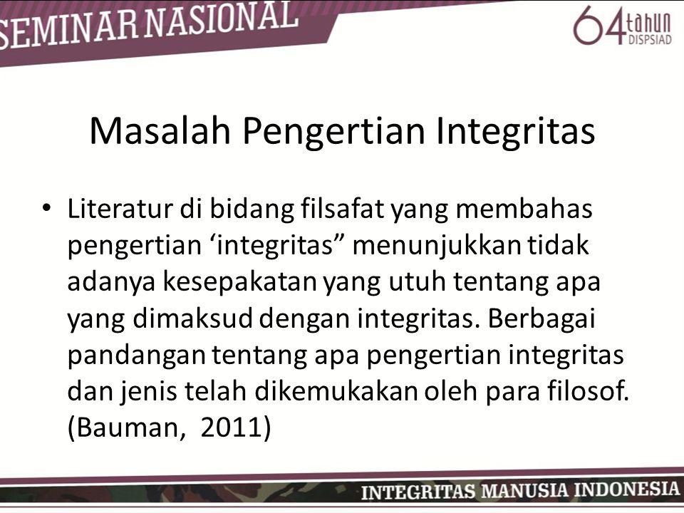 Masalah Pengertian Integritas