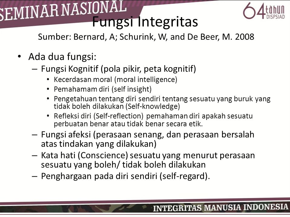 Fungsi Integritas Sumber: Bernard, A; Schurink, W, and De Beer, M. 2008