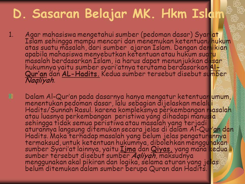 D. Sasaran Belajar MK. Hkm Islam