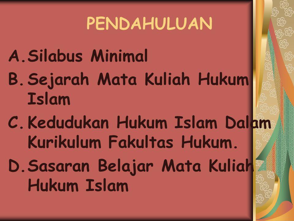 PENDAHULUAN Silabus Minimal. Sejarah Mata Kuliah Hukum Islam. Kedudukan Hukum Islam Dalam Kurikulum Fakultas Hukum.