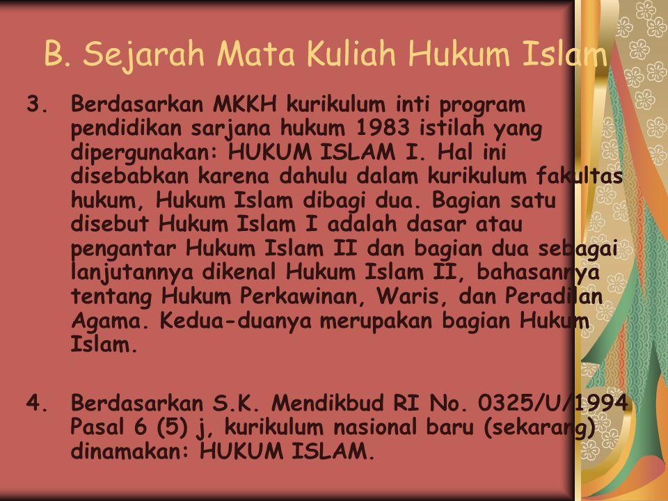 B. Sejarah Mata Kuliah Hukum Islam