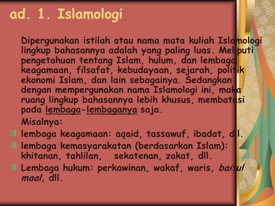 ad. 1. Islamologi