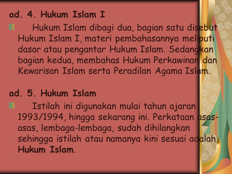 ad. 4. Hukum Islam I