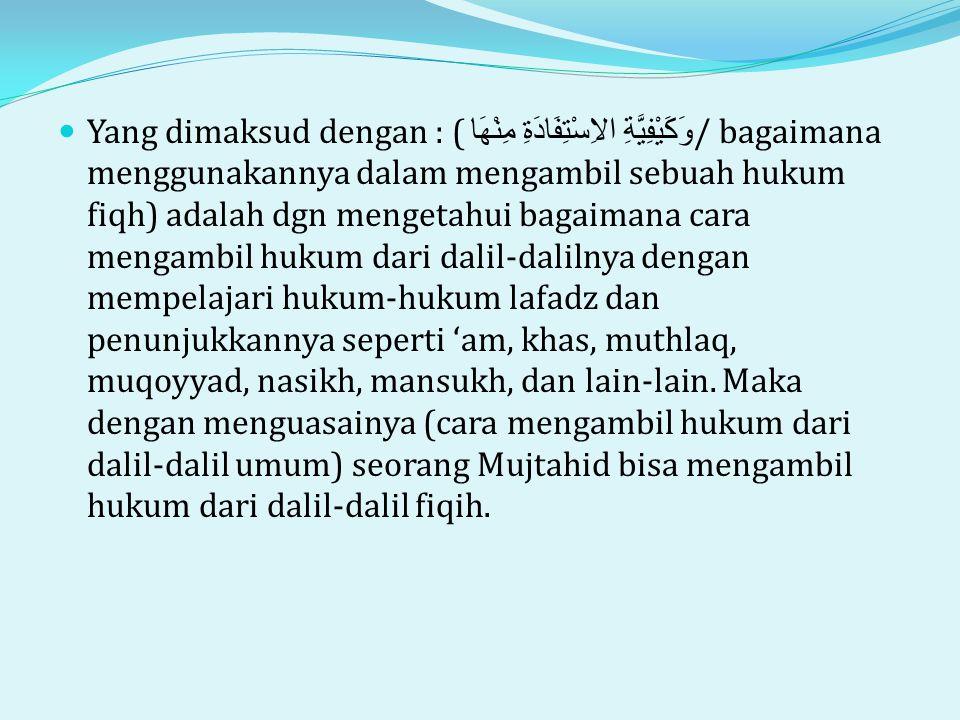 Yang dimaksud dengan : (وَكَيْفِيَّةِ الاِسْتِفَادَةِ مِنْهَا / bagaimana menggunakannya dalam mengambil sebuah hukum fiqh) adalah dgn mengetahui bagaimana cara mengambil hukum dari dalil-dalilnya dengan mempelajari hukum-hukum lafadz dan penunjukkannya seperti 'am, khas, muthlaq, muqoyyad, nasikh, mansukh, dan lain-lain.