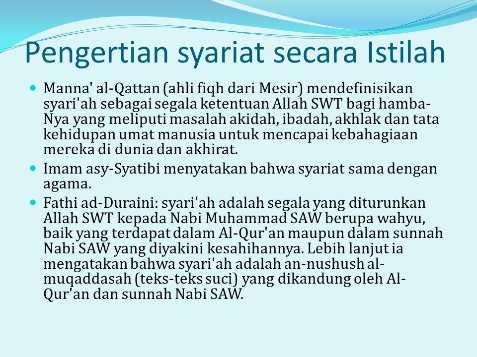 Pengertian syariat secara Istilah