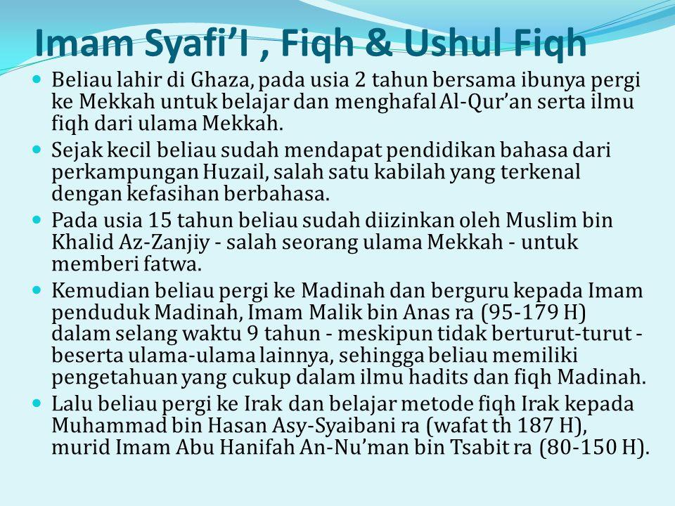 Imam Syafi'I , Fiqh & Ushul Fiqh
