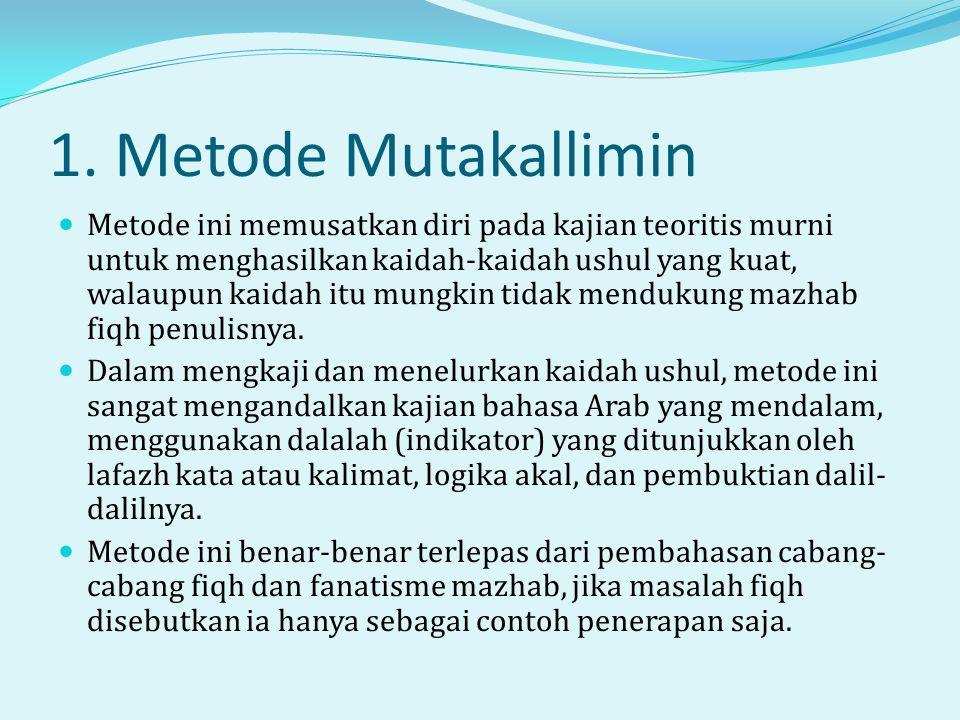 1. Metode Mutakallimin