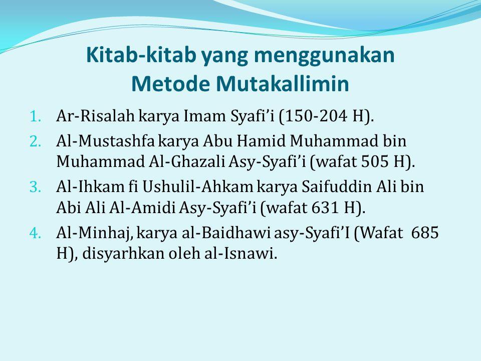 Kitab-kitab yang menggunakan Metode Mutakallimin