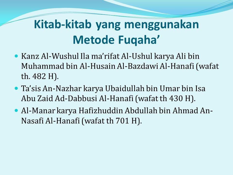 Kitab-kitab yang menggunakan Metode Fuqaha'