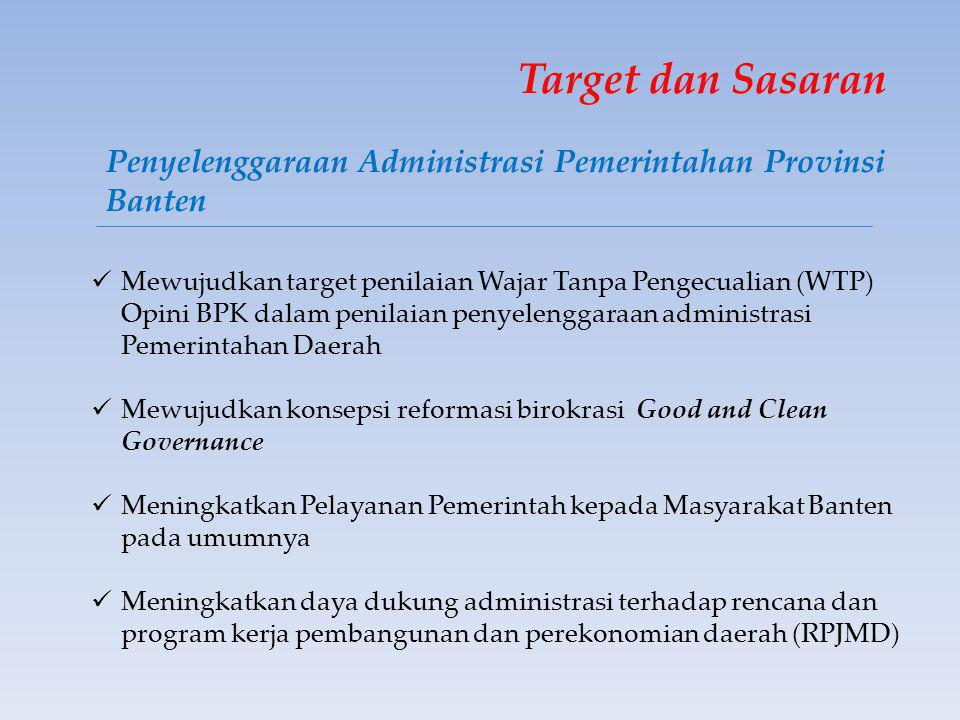 Target dan Sasaran Penyelenggaraan Administrasi Pemerintahan Provinsi Banten.