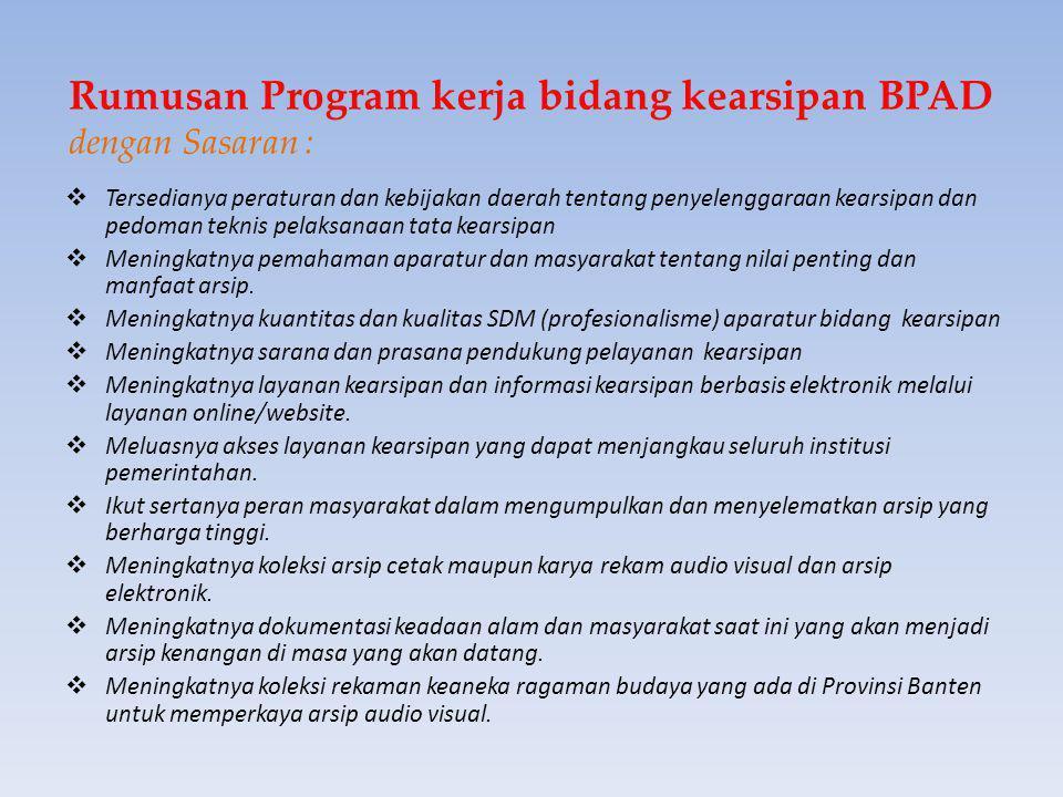 Rumusan Program kerja bidang kearsipan BPAD dengan Sasaran :