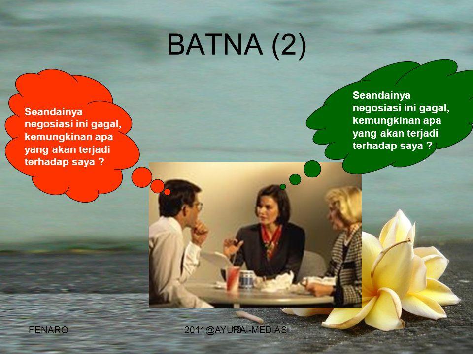 BATNA (2) Seandainya negosiasi ini gagal, kemungkinan apa