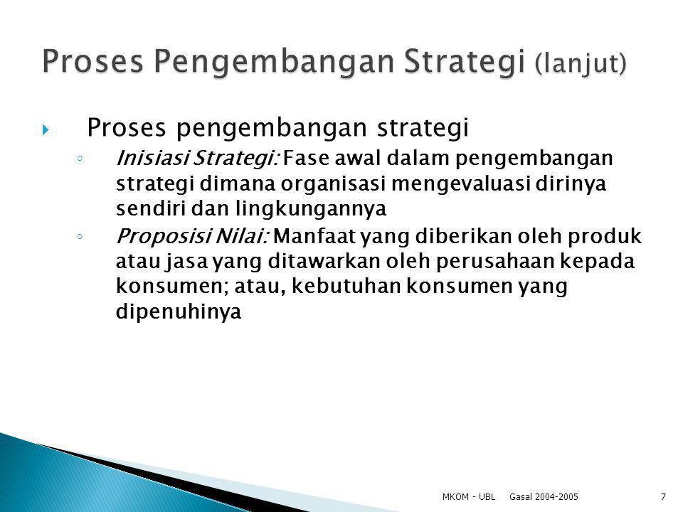 Proses Pengembangan Strategi (lanjut)