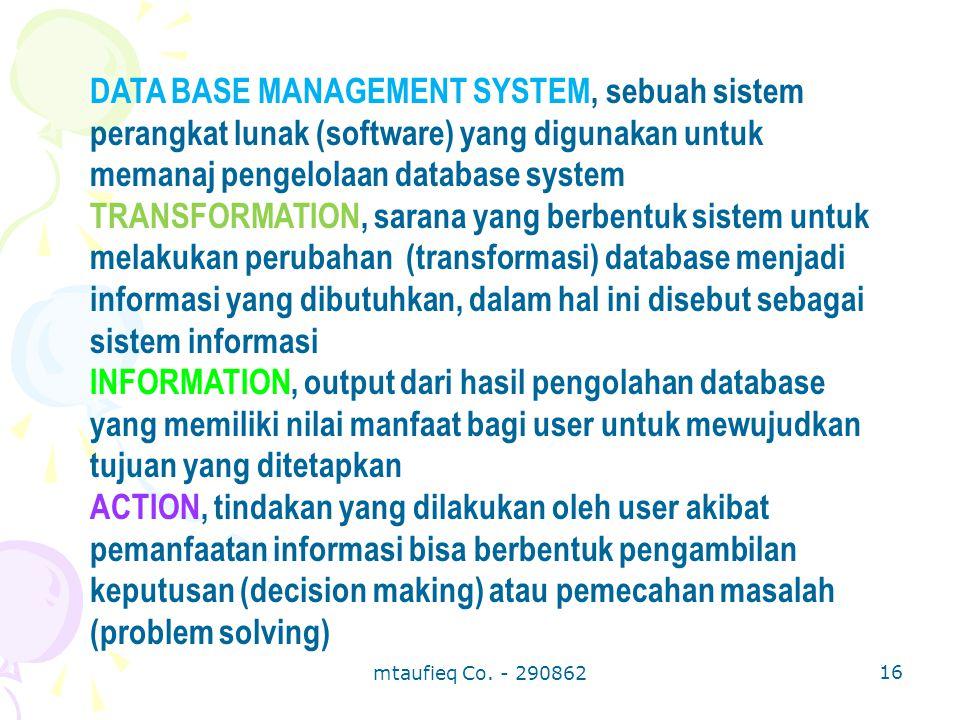 DATA BASE MANAGEMENT SYSTEM, sebuah sistem perangkat lunak (software) yang digunakan untuk memanaj pengelolaan database system