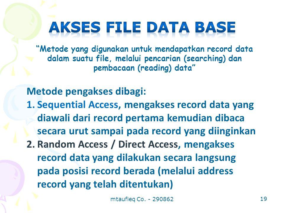 Akses file data base Metode pengakses dibagi: