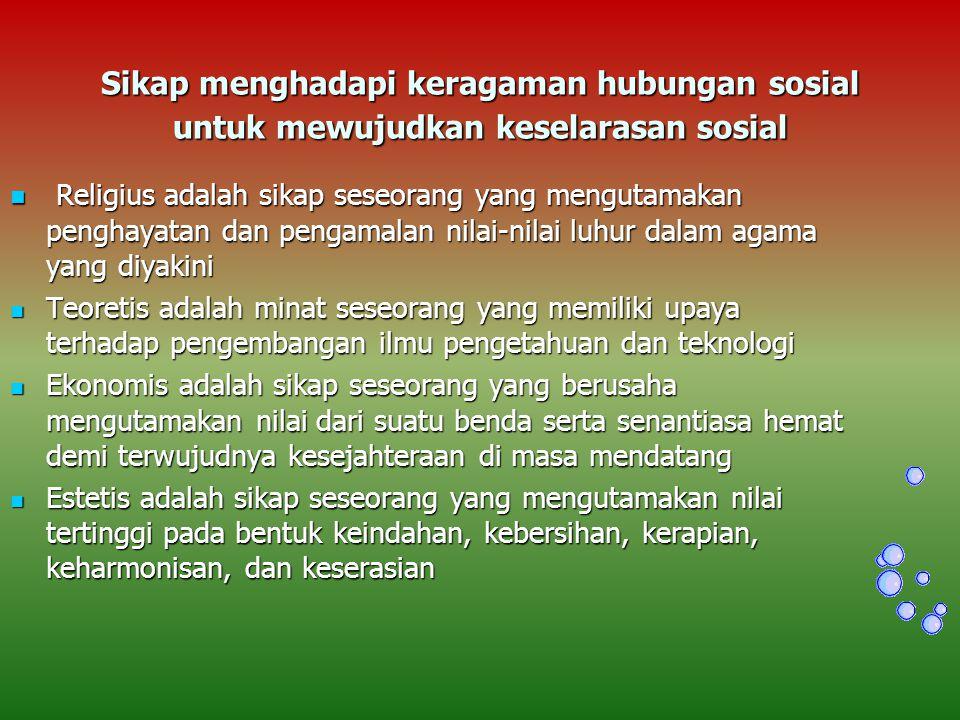 Sikap menghadapi keragaman hubungan sosial untuk mewujudkan keselarasan sosial