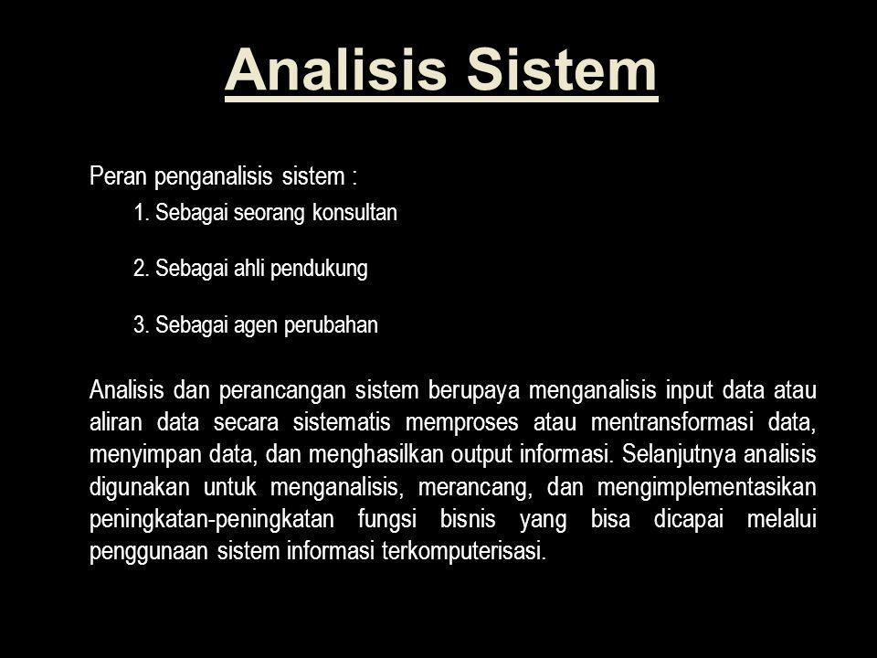 Analisis Sistem Peran penganalisis sistem :