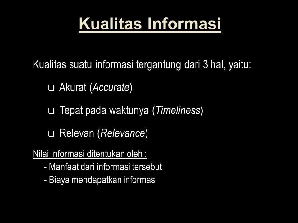 Kualitas Informasi Kualitas suatu informasi tergantung dari 3 hal, yaitu: Akurat (Accurate) Tepat pada waktunya (Timeliness)