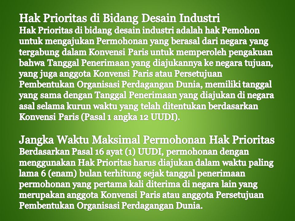 Hak Prioritas di Bidang Desain Industri