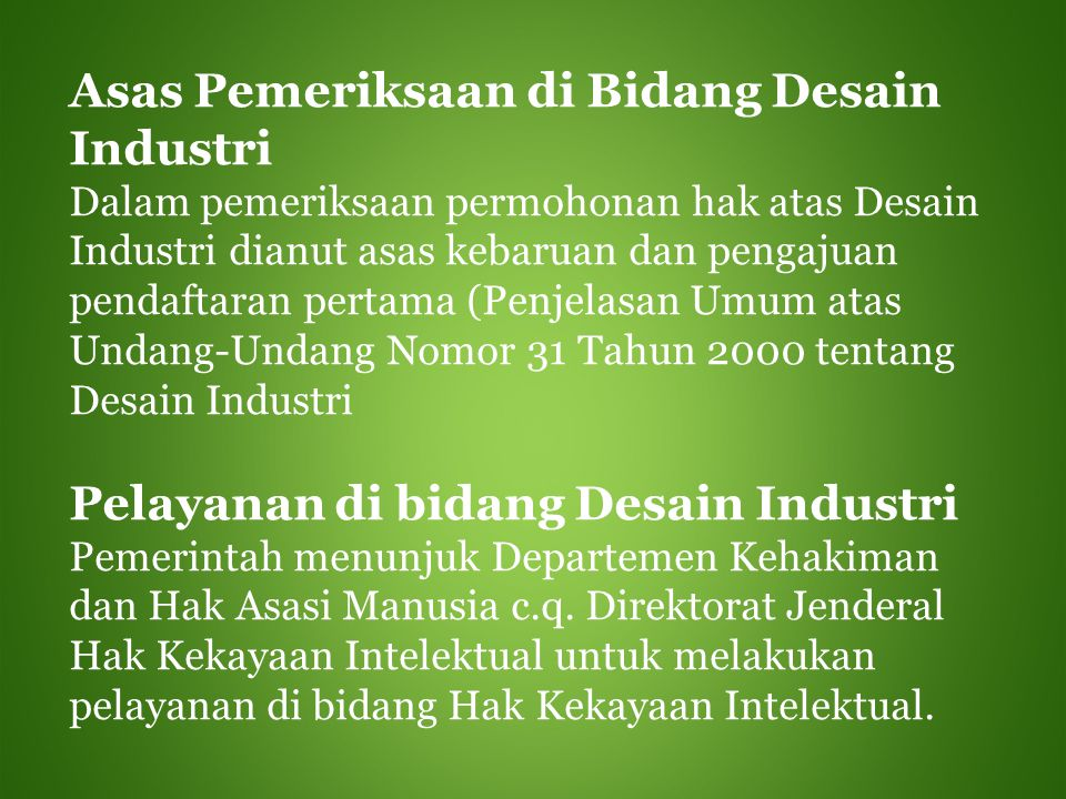 Asas Pemeriksaan di Bidang Desain Industri
