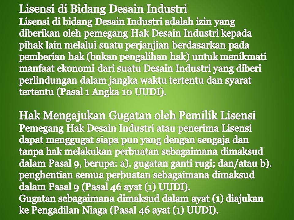 Lisensi di Bidang Desain Industri