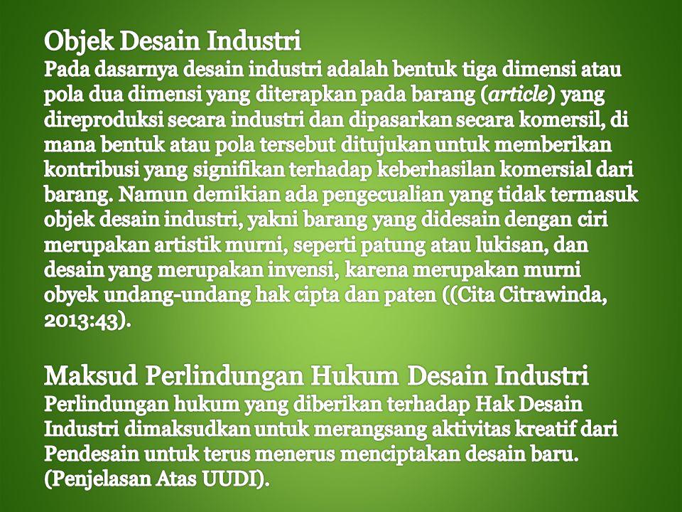 Maksud Perlindungan Hukum Desain Industri