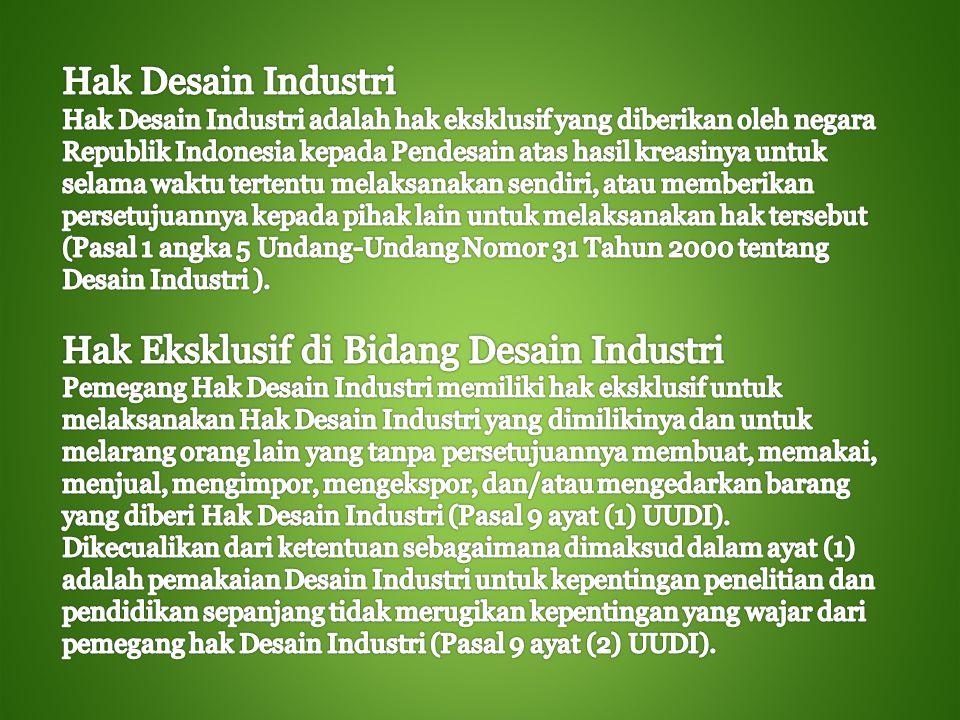 Hak Eksklusif di Bidang Desain Industri