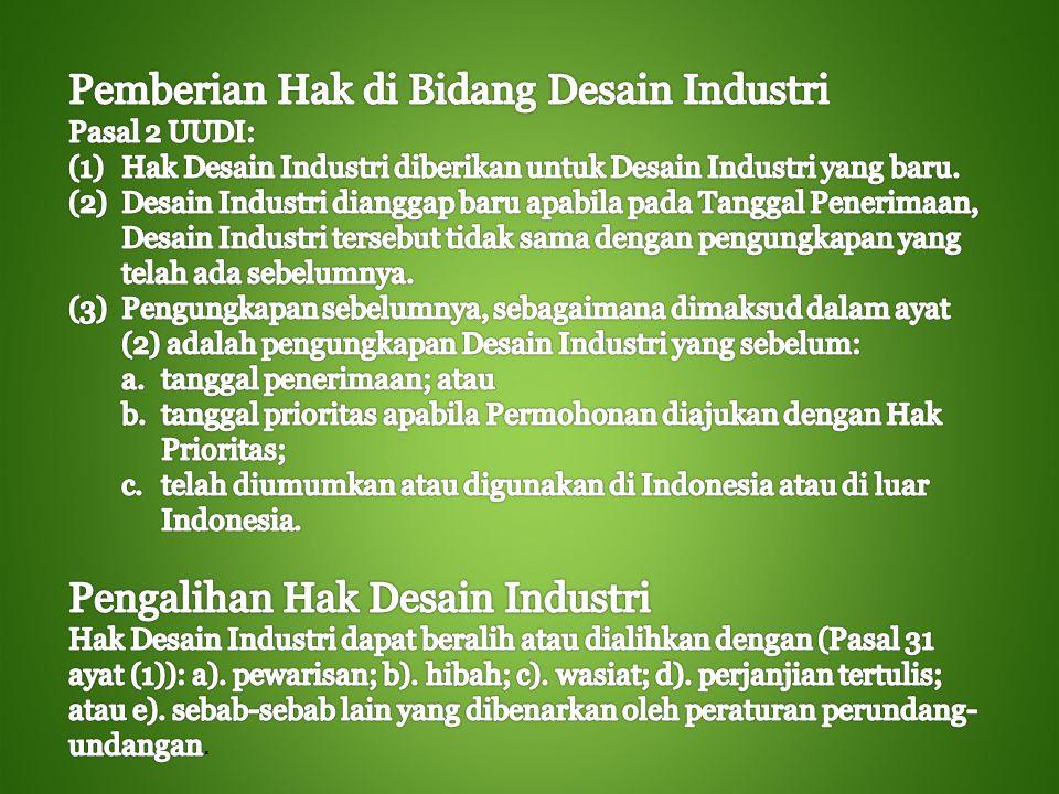 Pemberian Hak di Bidang Desain Industri