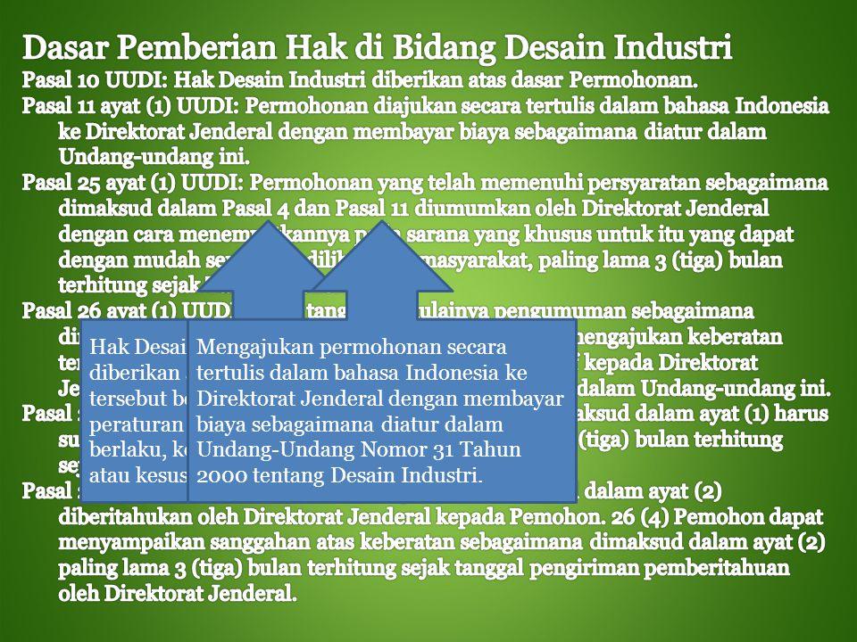 Dasar Pemberian Hak di Bidang Desain Industri