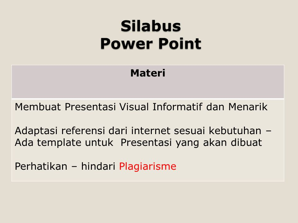 Silabus Power Point Materi