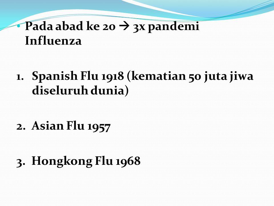 Pada abad ke 20  3x pandemi Influenza