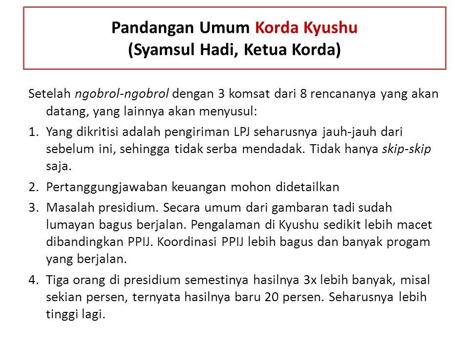 Pandangan Umum Korda Kyushu (Syamsul Hadi, Ketua Korda)