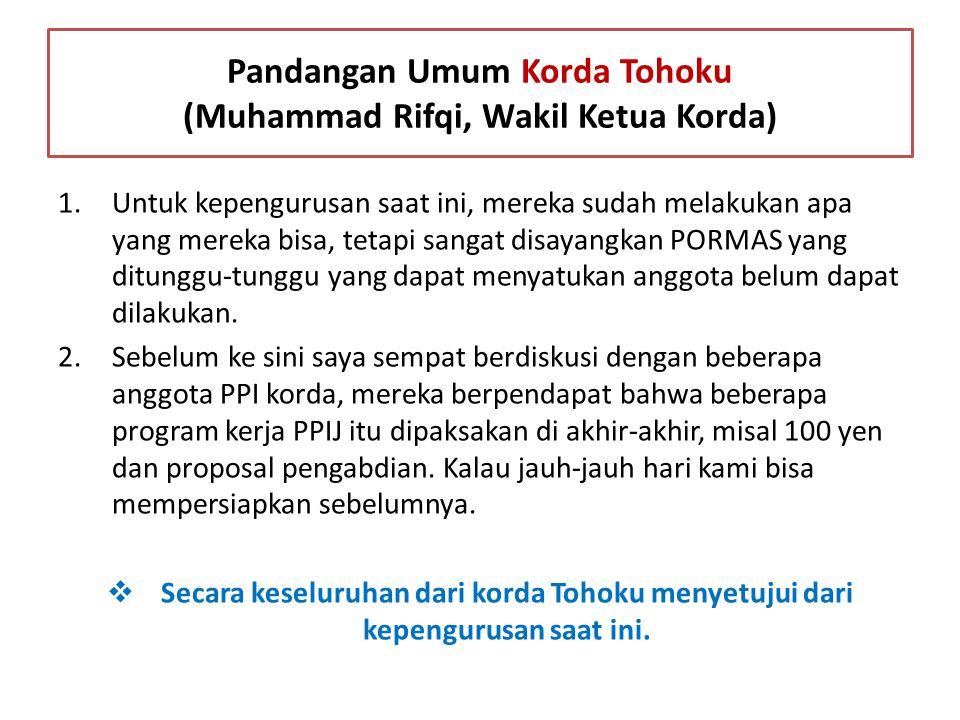 Pandangan Umum Korda Tohoku (Muhammad Rifqi, Wakil Ketua Korda)