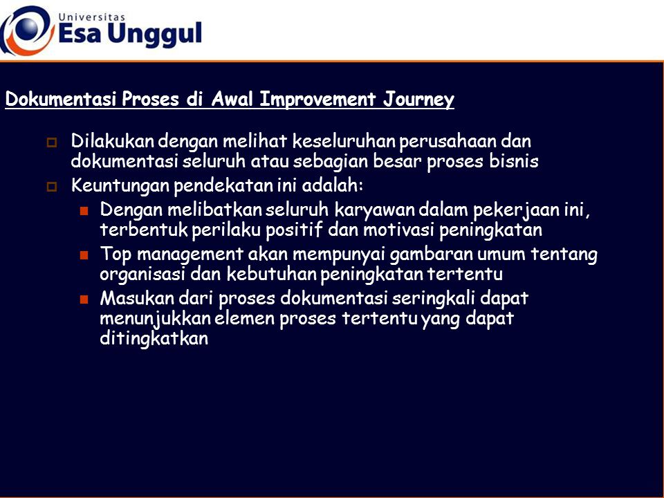 Dokumentasi Proses di Awal Improvement Journey