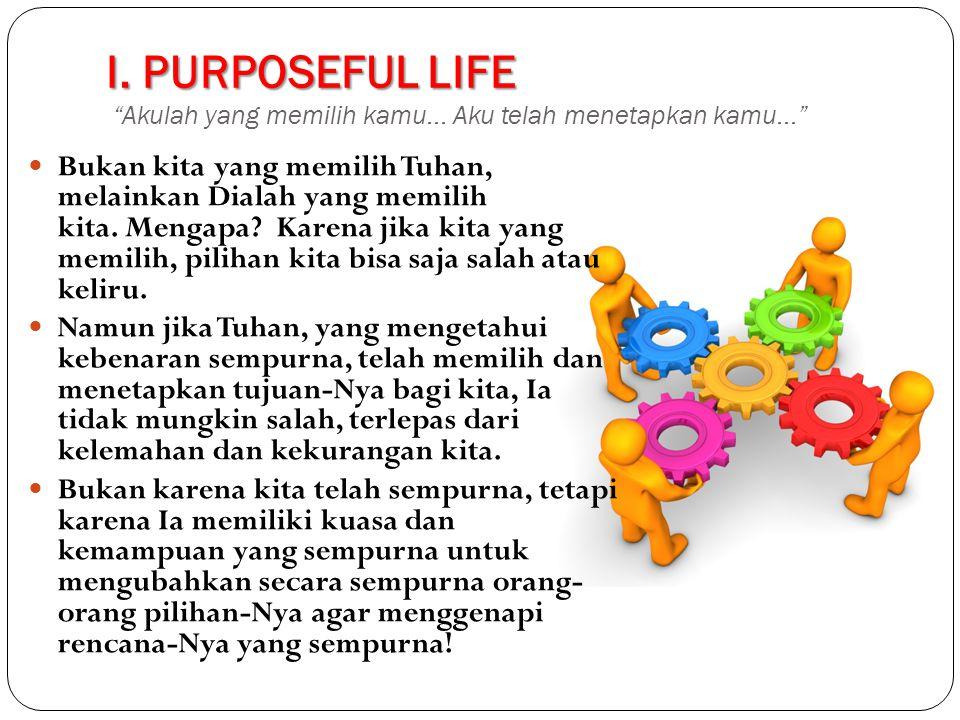 I. PURPOSEFUL LIFE Akulah yang memilih kamu... Aku telah menetapkan kamu...