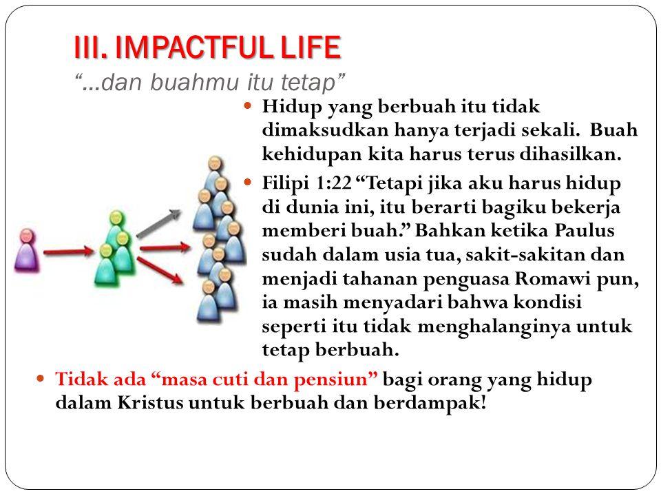 III. IMPACTFUL LIFE ...dan buahmu itu tetap