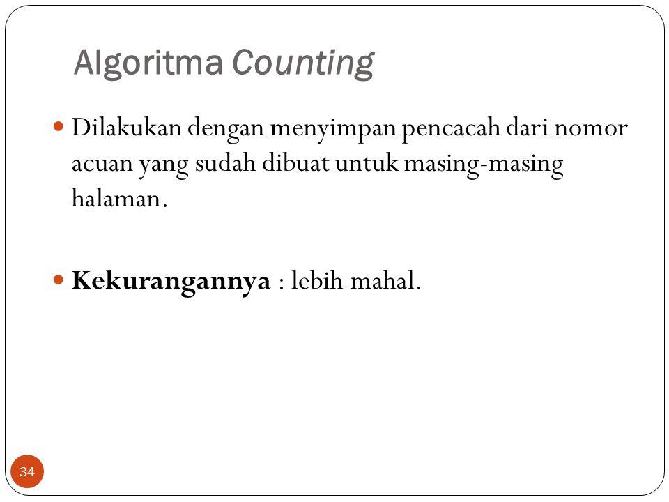 Algoritma Counting Dilakukan dengan menyimpan pencacah dari nomor acuan yang sudah dibuat untuk masing-masing halaman.