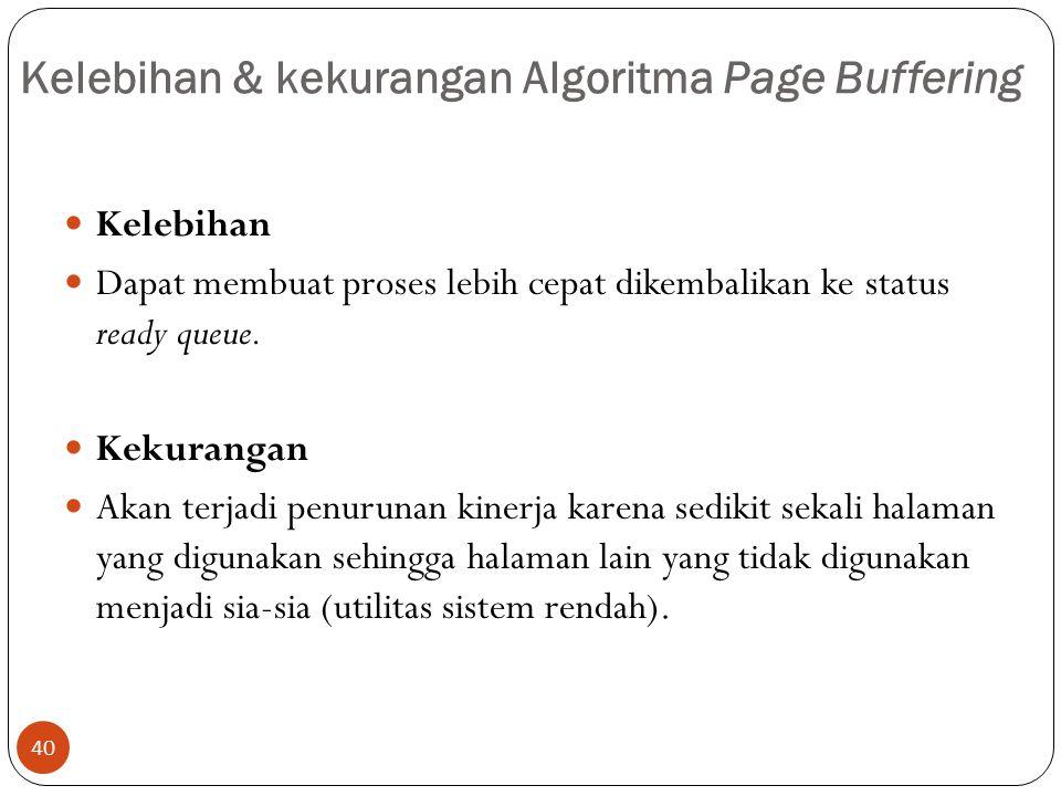 Kelebihan & kekurangan Algoritma Page Buffering