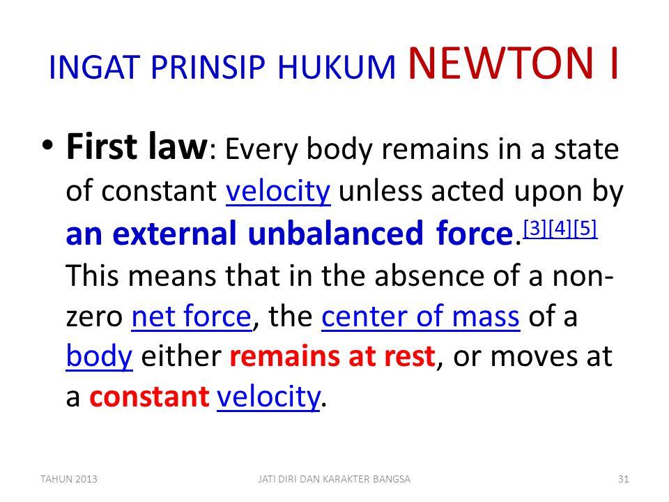 INGAT PRINSIP HUKUM NEWTON I