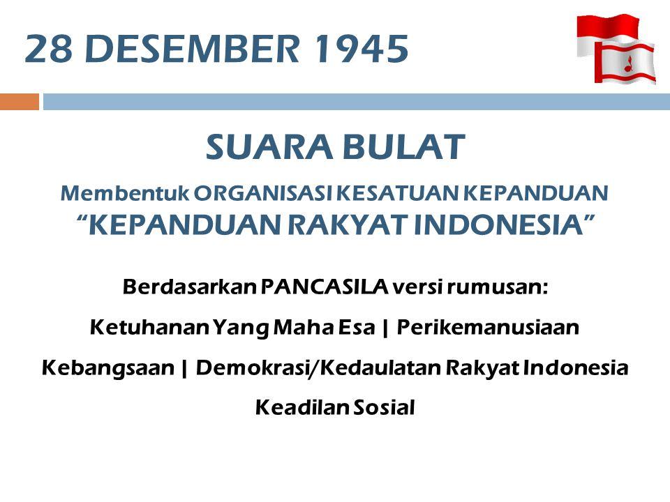 28 DESEMBER 1945 SUARA BULAT. Membentuk ORGANISASI KESATUAN KEPANDUAN KEPANDUAN RAKYAT INDONESIA